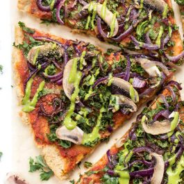 Best Grain-Free Vegan Pizza with Caramelized Onions + Mushrooms