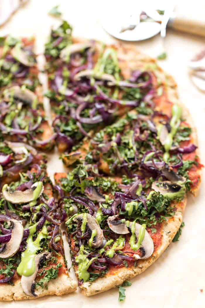 grain-free vegan pizza crust with lots of toppings