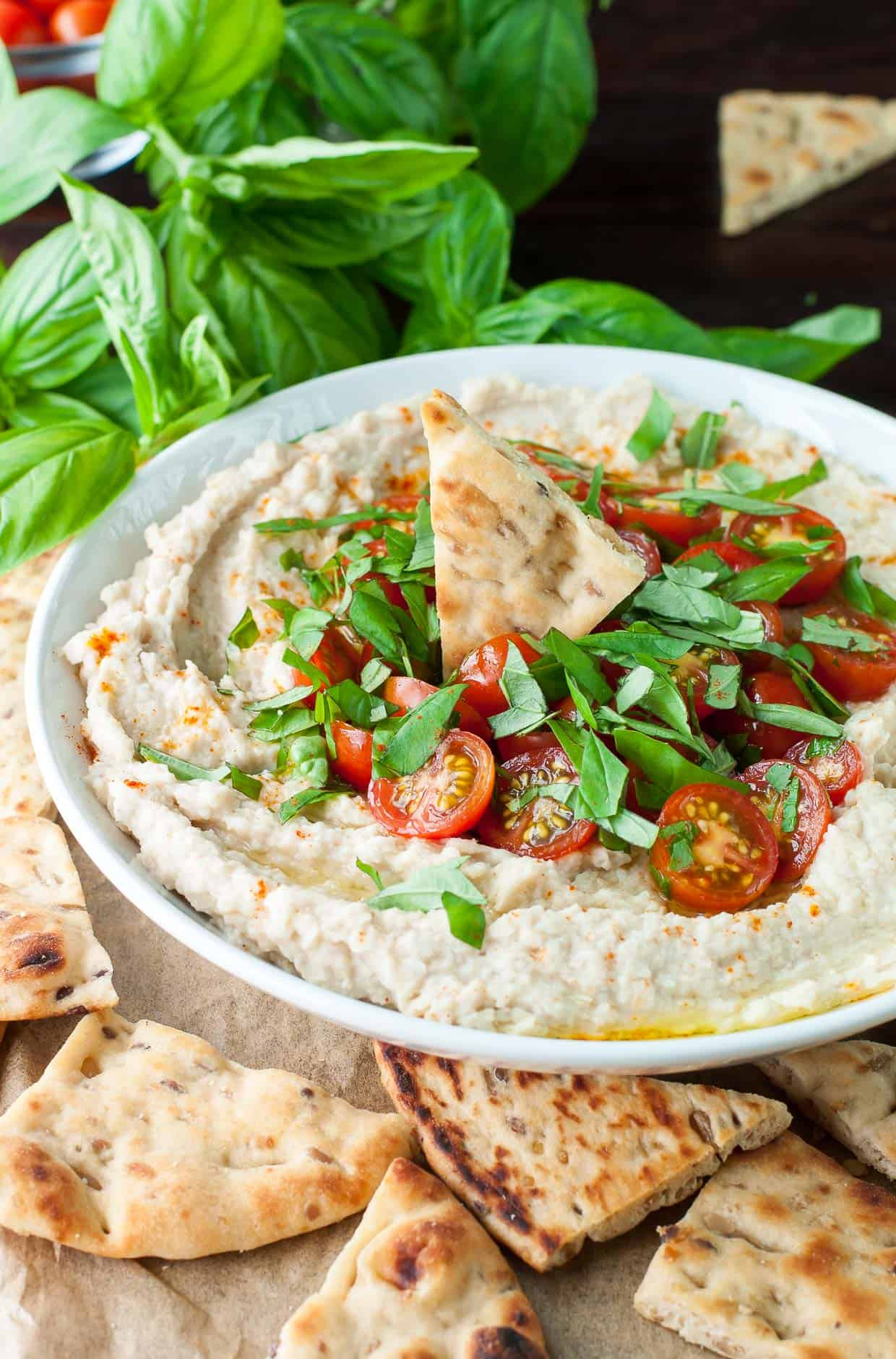 vegan white bean dip with basil and tomatoes