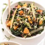 vegetarian kale salad with butternut squash and lentils