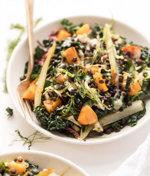 Loaded Winter Kale Salad with a Honey-Mustard Vinaigrette