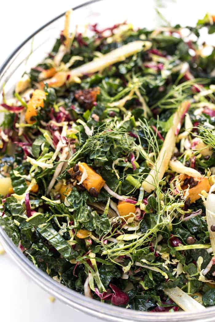 how to make winter kale salad loaded with veggies