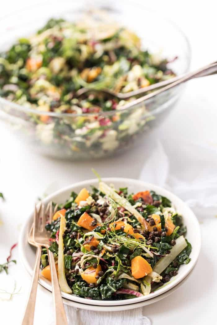 Winter Kale Salad with roasted butternut squash