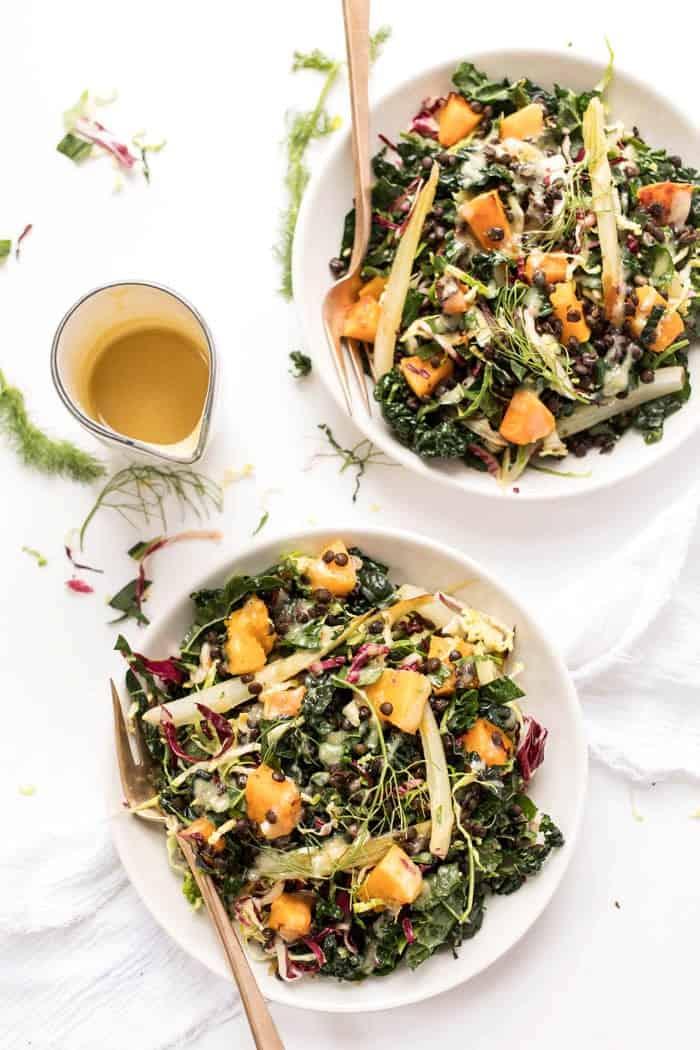 Winter Kale Salad with Butternut Squash + Lentils