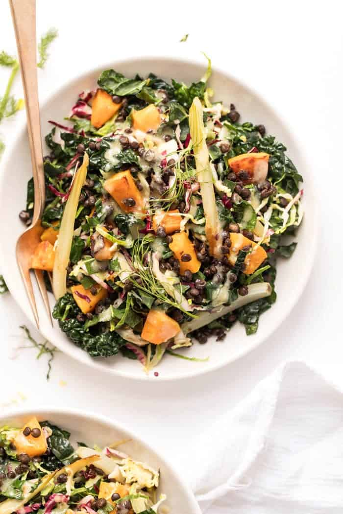 healthy winter kale salad with lentils and butternut squash