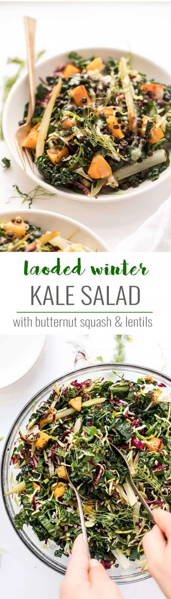 vegetarian winter kale salad with lentils and squash