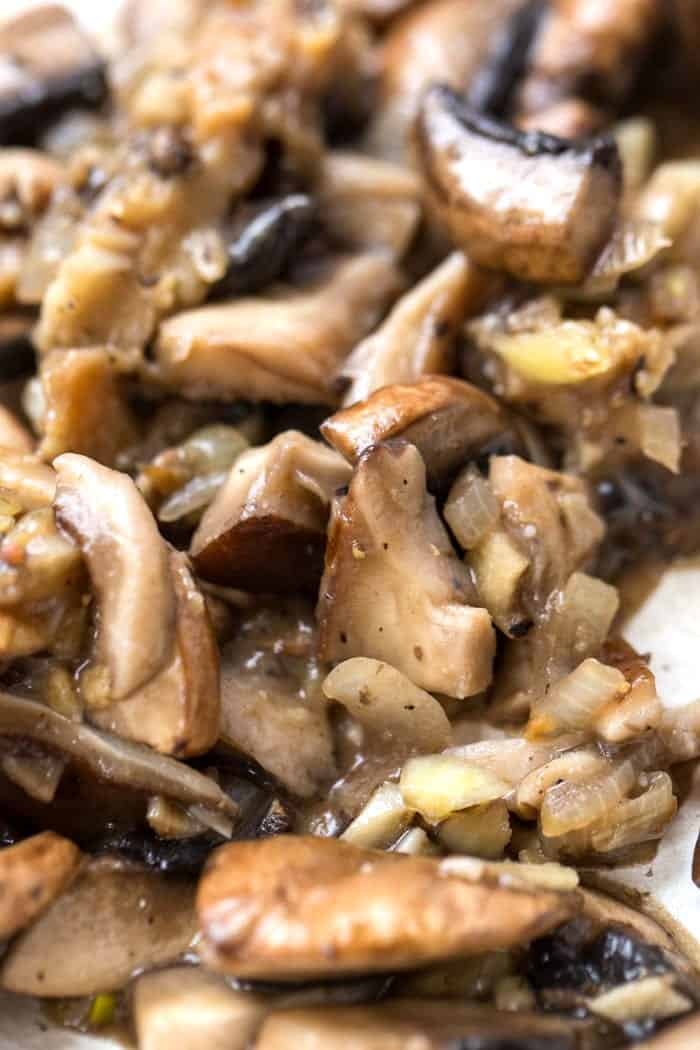 chopped cooked mushrooms for mushroom risotto