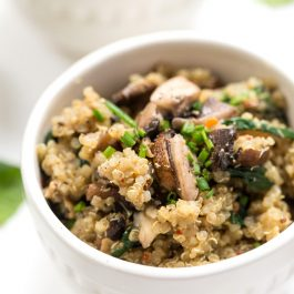 healthy mushroom quinoa risotto with spinach