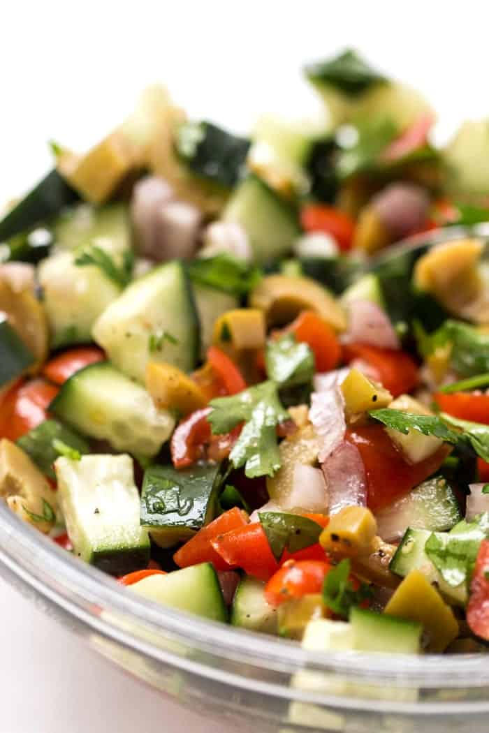mediterranean salad with tomatoes, cucumbers and olives