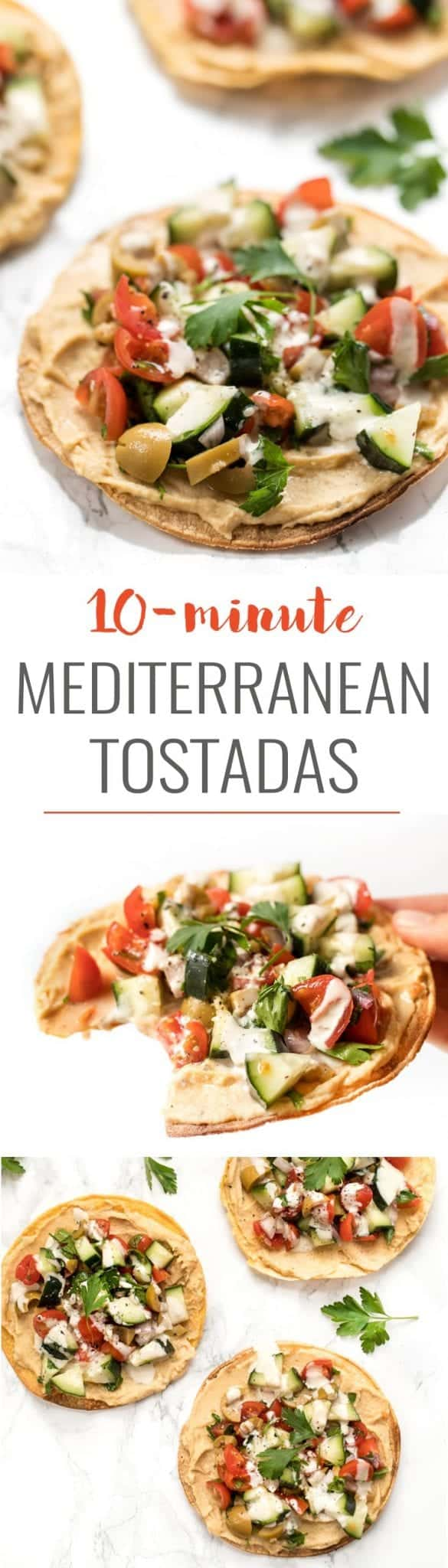 vegan mediterranean tostadas with hummus and tahini