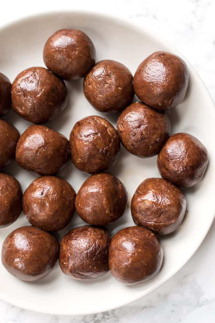 5 ingredient chocolate truffles made with almond butter