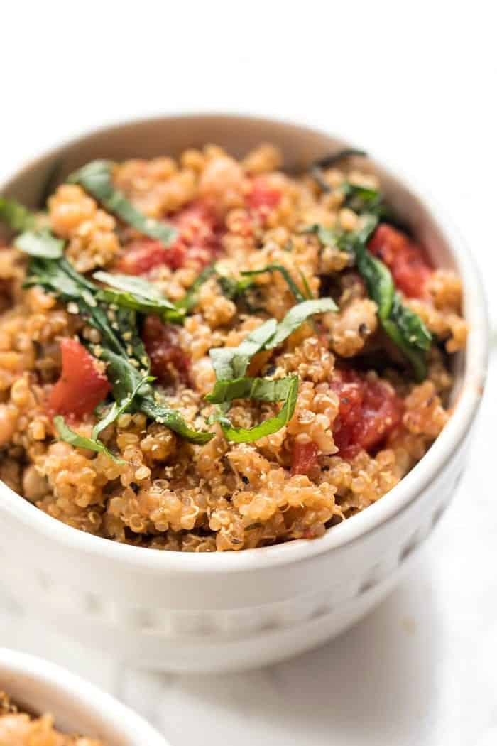 one pot italian quinoa with tomatoes and fresh basil