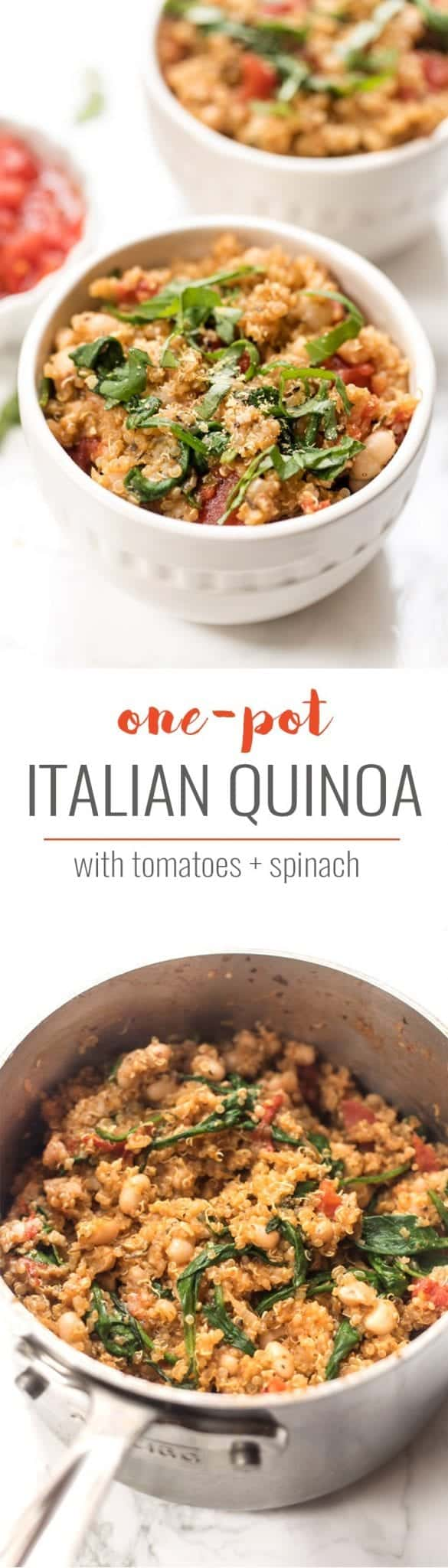 one pot italian quinoa with spinach and tomatoes
