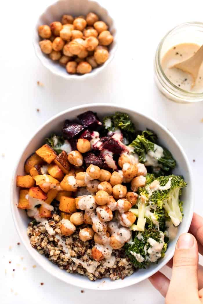 quinoa buddha bowls with roasted vegetables and chickpeas