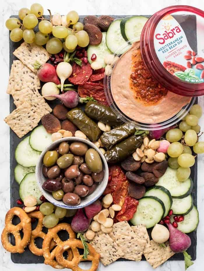 healthy vegan snack board with red bean dip