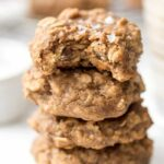 salted peanut butter breakfast cookies with banana, oats and quinoa