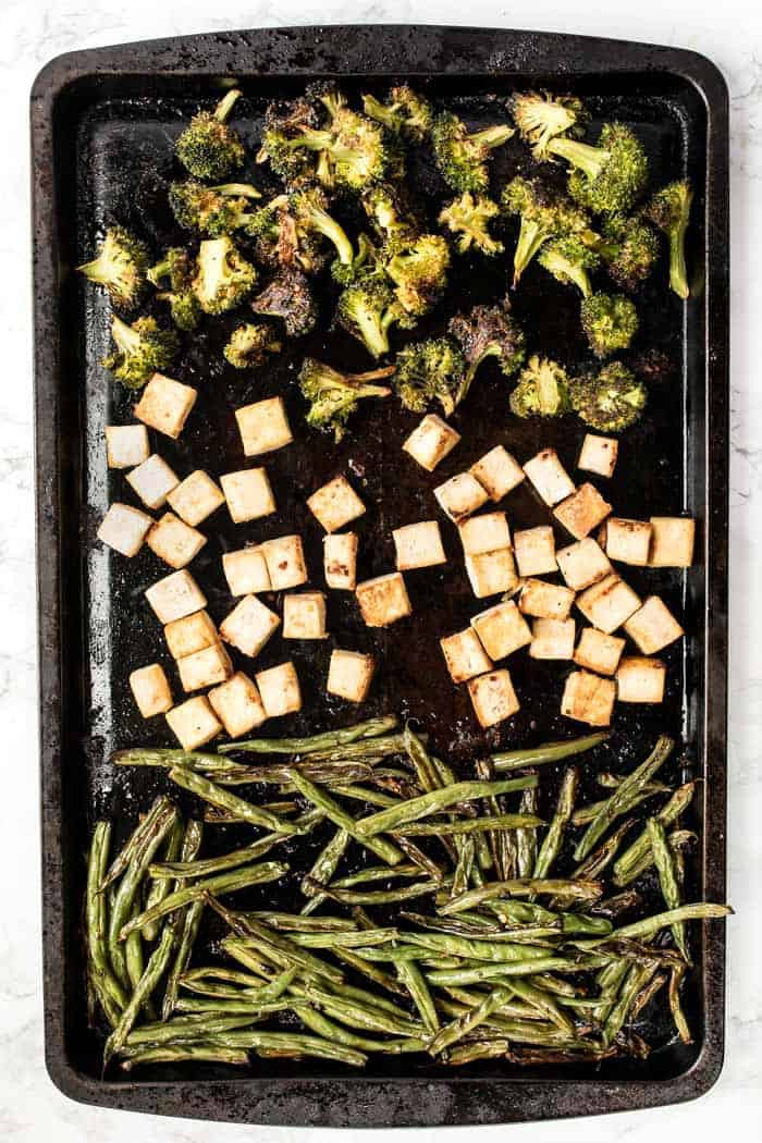 easy sheet pan tofu bowls with quinoa and broccoli