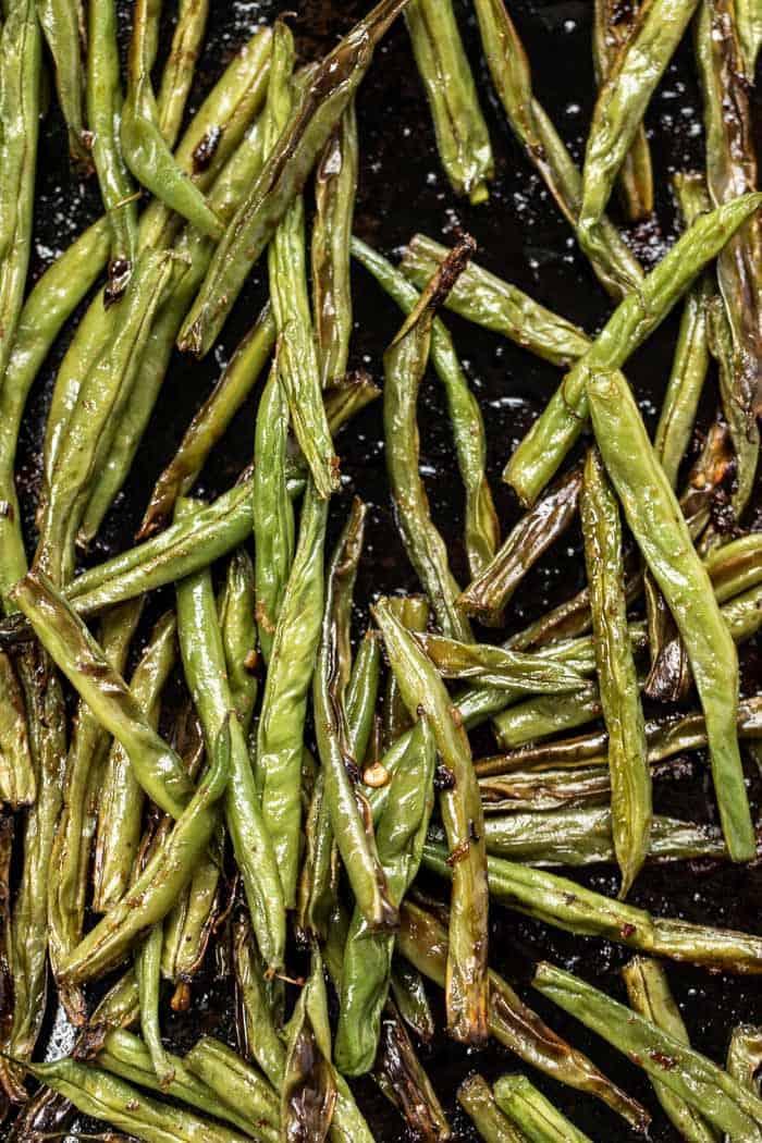 sesame roasted green beans for tofu quinoa bowls