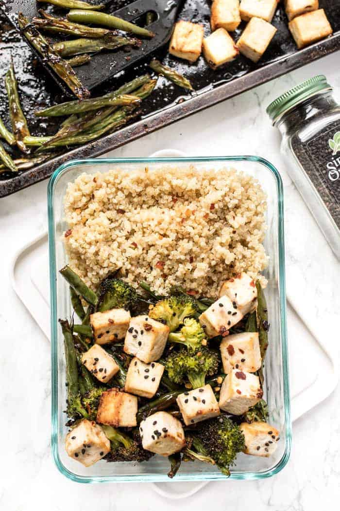 vegan meal prep recipe tofu quinoa bowls