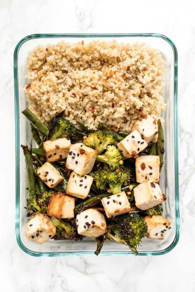 tofu quinoa bowls for a vegan meal prep recipe