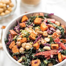 Thai Superfood Kale Salad with Sweet Potatoes & Chickpeas