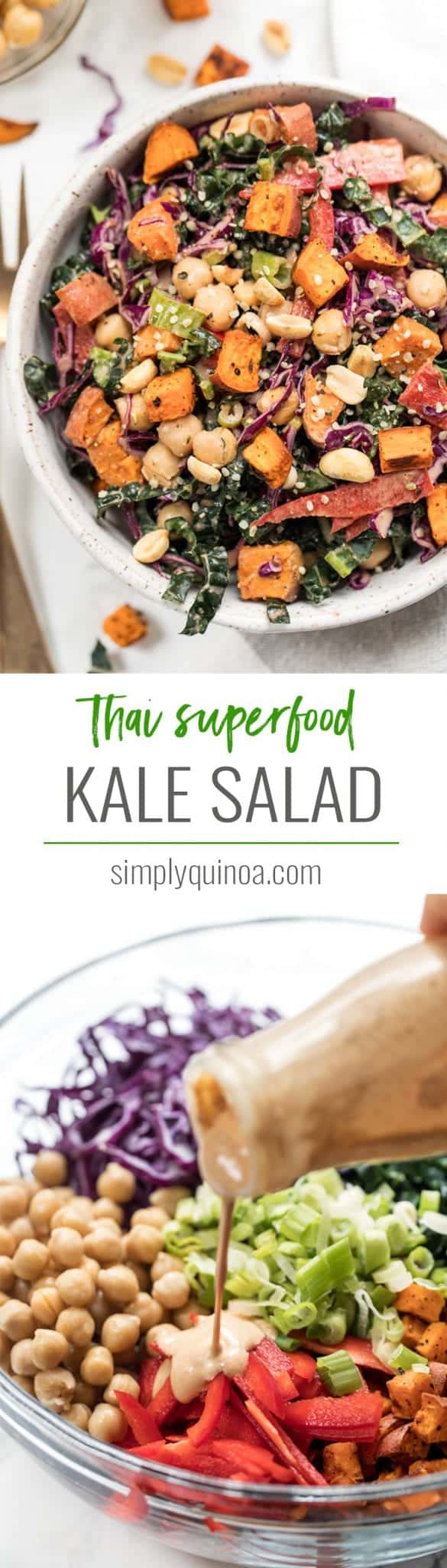 thai superfood kale salad with sweet potatoes and chickpeas