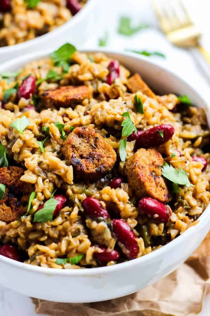 cajun vegan jambalaya made in one pot