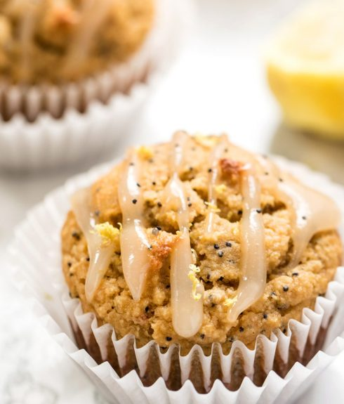 Gluten-Free Lemon Poppy Seed Muffins with Coconut Butter Icing