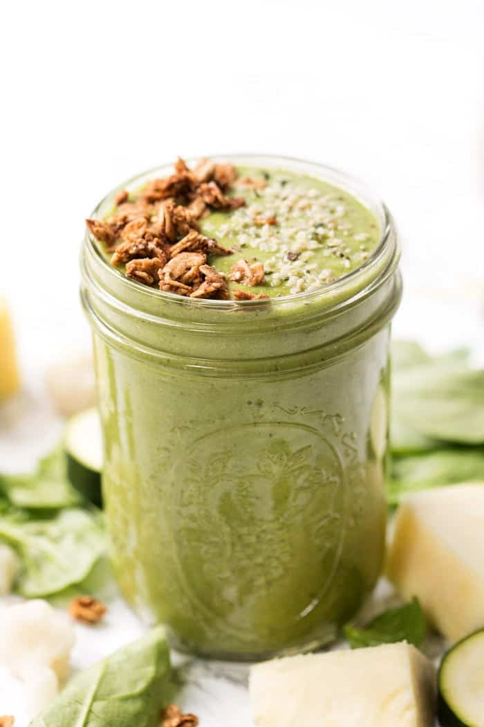 healthy pineapple green smoothie with hidden vegetables