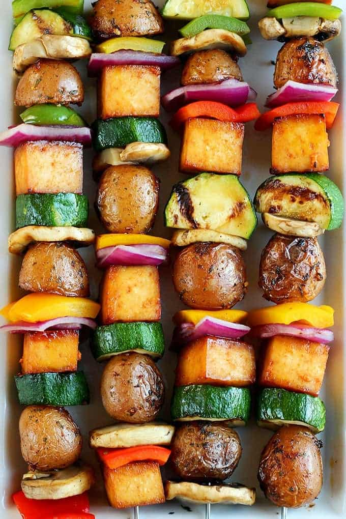 gilled veggie and potato kebabs for summer