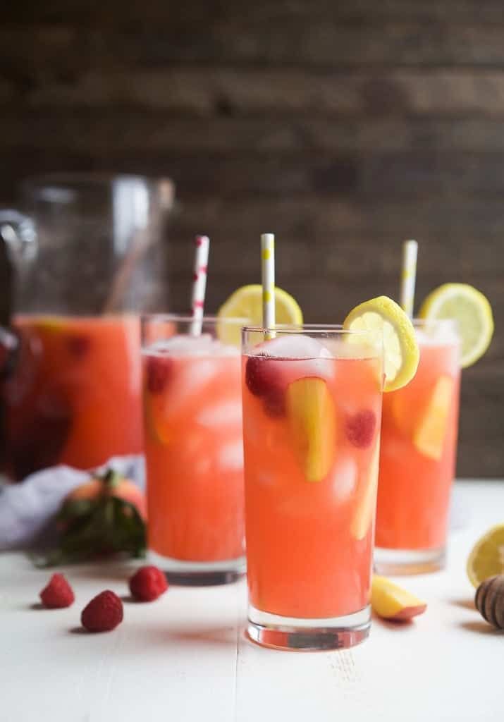 homemade raspberry peach lemonade with 5 ingredients