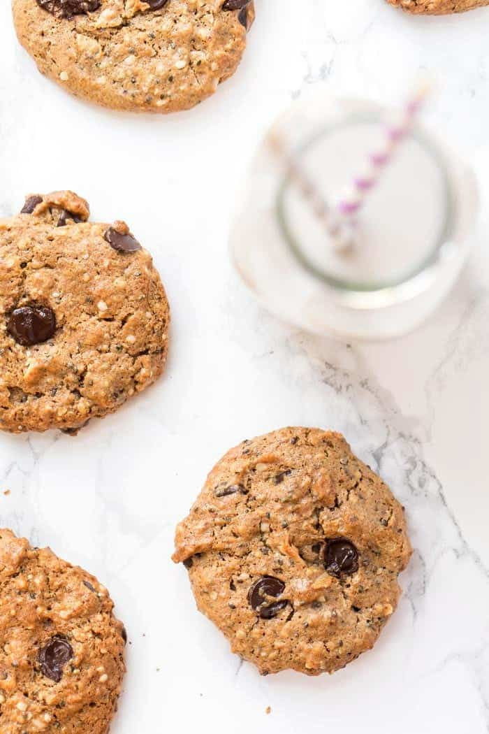 vegan and gluten-free protein cookies with chocolate and coocnut