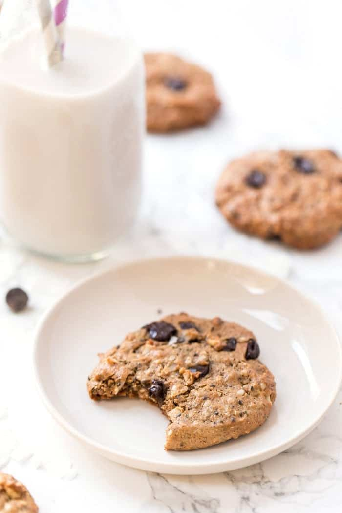 healthy protein cookies with chocolate and coconut