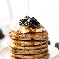 lemon poppy seed pancakes that are also gluten-free and vegan