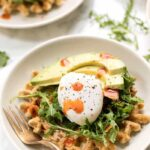 savory zucchini breakfast waffles with hummus and poached eggs