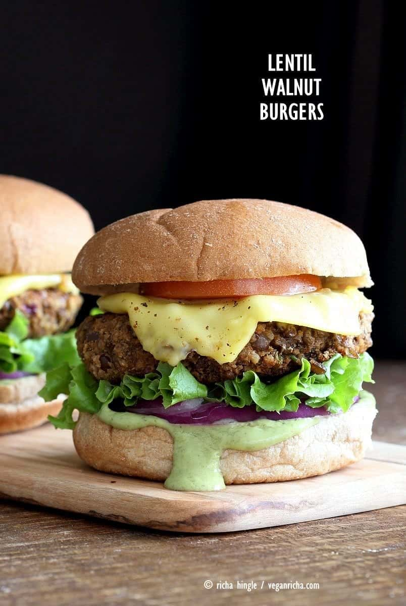 Quinoa, Sweet Potato, and Walnut Veggie Burgers