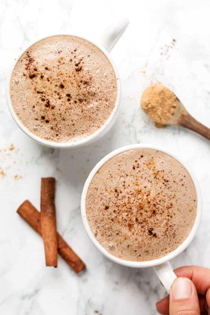 caffeine-free maca latte with superfood powders