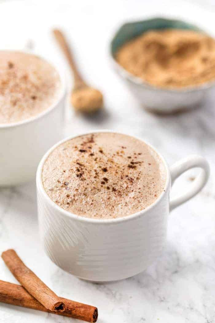 caffeine-free maca latte with energizing superfood powders