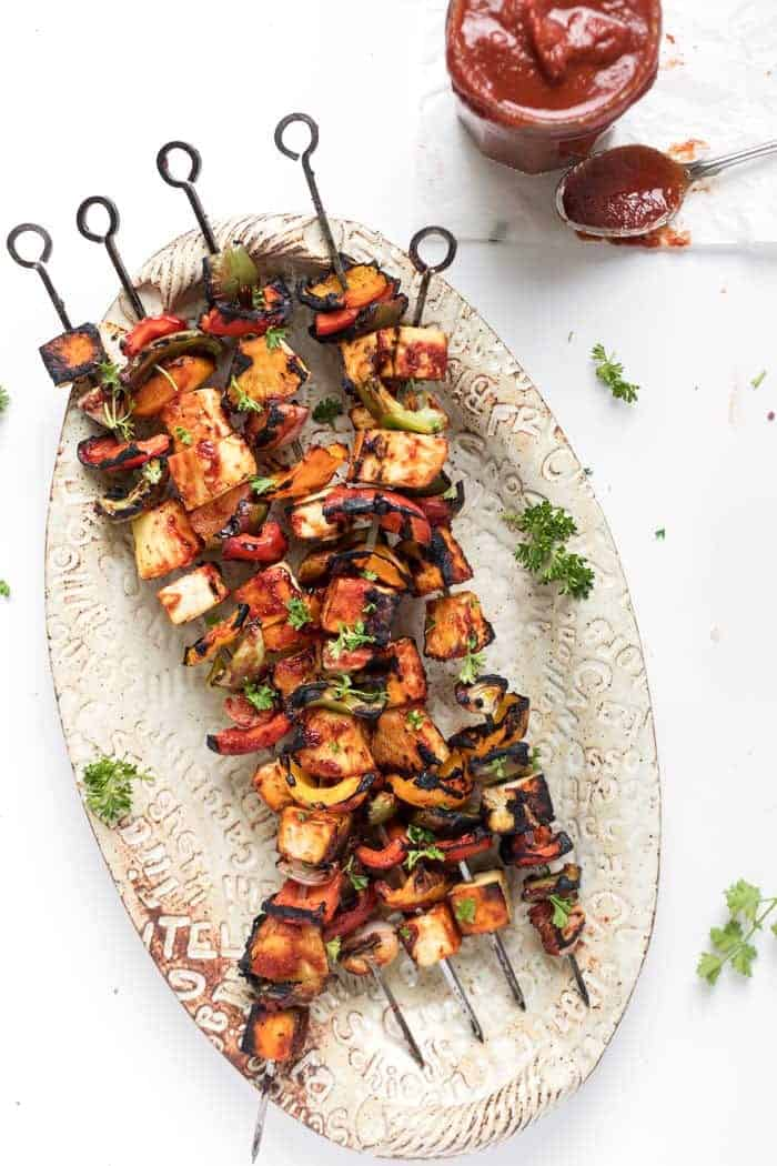 barbecue grilled pineapple and tofu kebabs with peppers