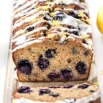 gluten-free blueberry banana bread with a coconut butter drizzle