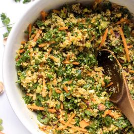 vegan moroccan quinoa salad with kale and carrots