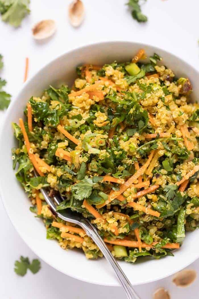 healthy moroccan quinoa salad with citrus dressing