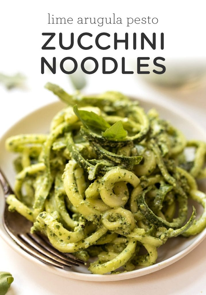 Zucchini Noodles with a healthy lime-arugula pestoZucchini Noodles with a healthy lime-arugula pesto