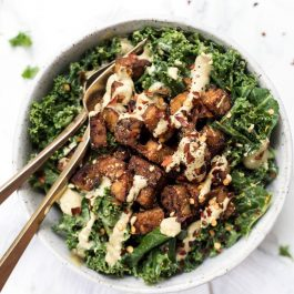 Creamy Kale Salad with Smoky Baked Tempeh Croutons