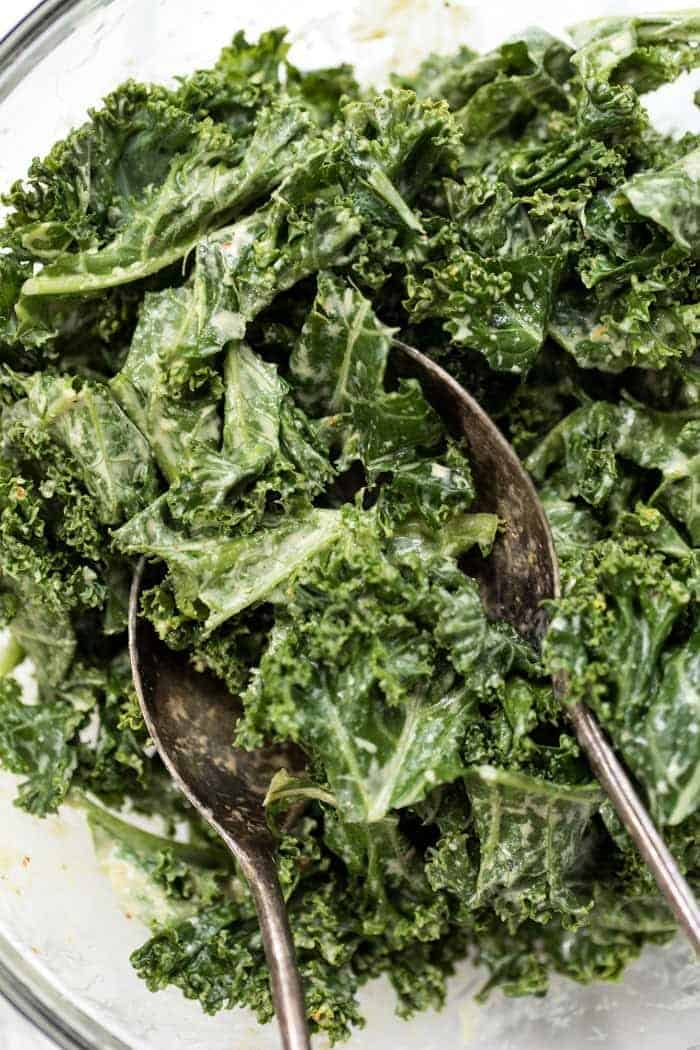 Creamy Kale Salad with Tahini Dressing