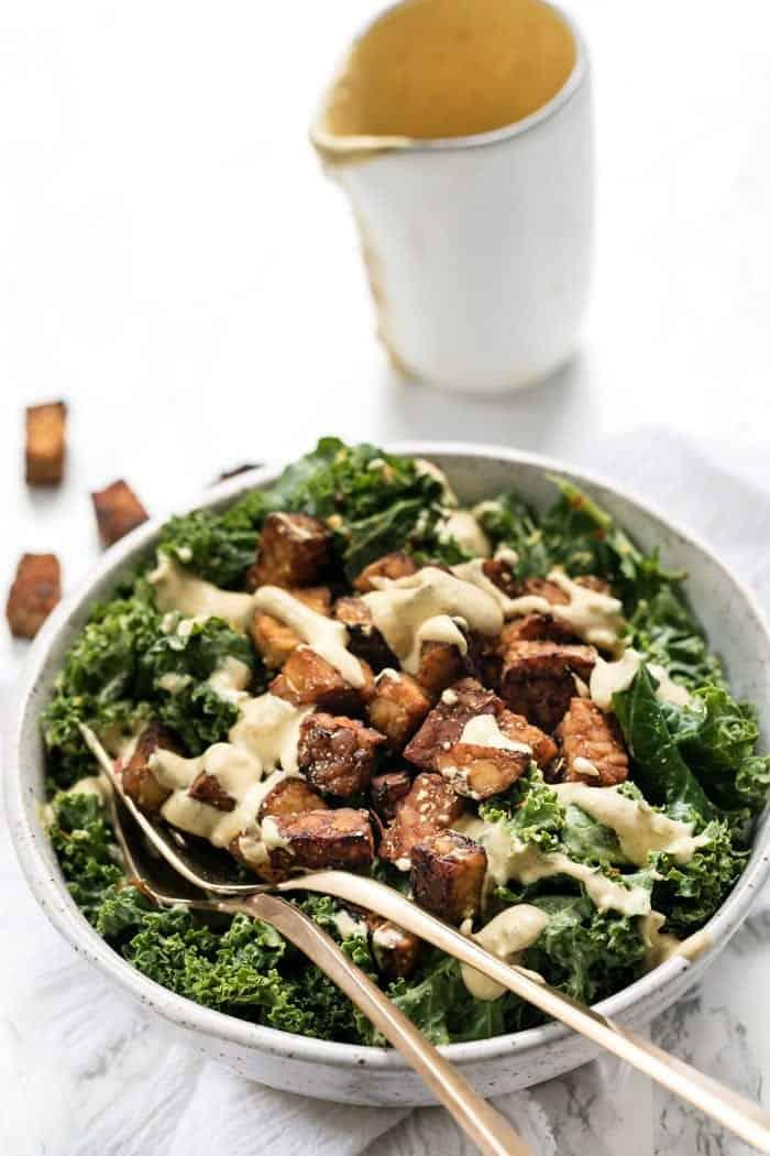 Vegan Kale Salad with Creamy Caesar Dressing