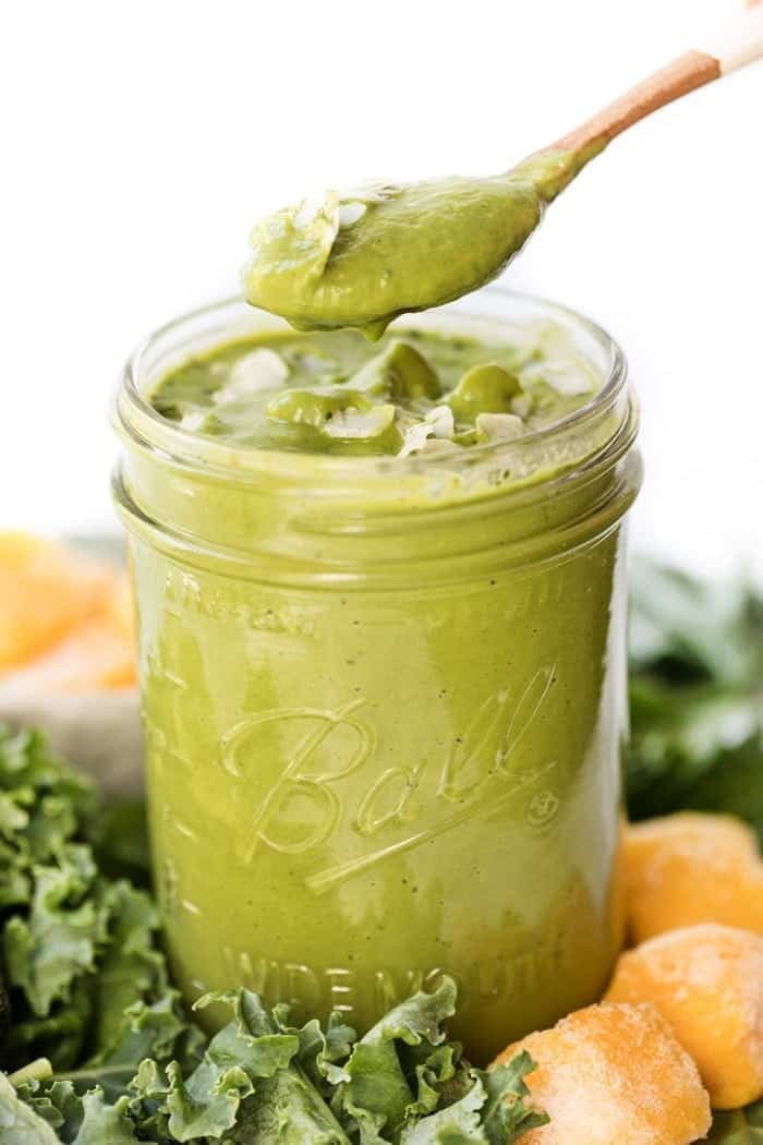 Eating a Healthy Green Smoothie with Matcha Powder