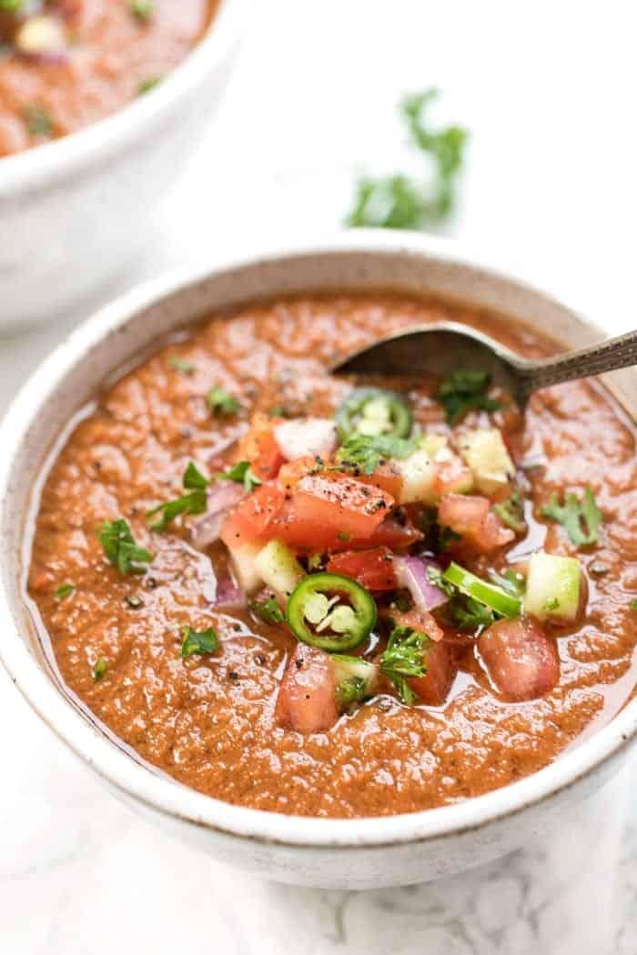 Perfect Tomato Gazpacho with Serrano Peppers