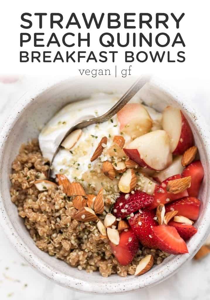 Strawberry Peach Quinoa Breakfast Bowl
