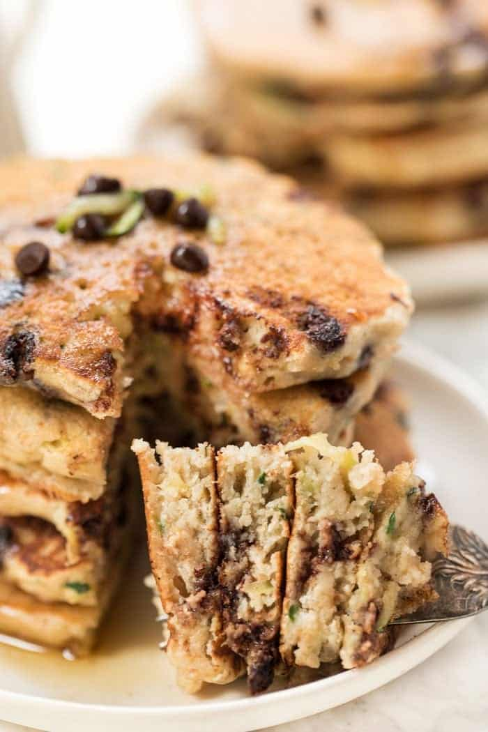Quinoa Pancakes with Zucchini and Chocolate Chips
